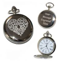 Celtic Heart Pocket Watch Roman Numerals Quartz
